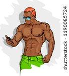 muscle man silhouette graffiti... | Shutterstock . vector #1190085724
