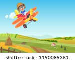 cute little boy flying in... | Shutterstock .eps vector #1190089381