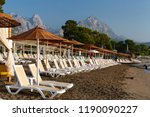 sunbeds and umbrellas from the...   Shutterstock . vector #1190090227