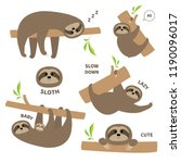 sloth set mother with baby.... | Shutterstock .eps vector #1190096017