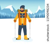 cartoon climber with trekking... | Shutterstock .eps vector #1190098234