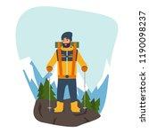 cartoon climber with trekking...   Shutterstock .eps vector #1190098237