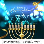 hanukkah greeting card with... | Shutterstock .eps vector #1190127994