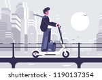 young man riding electric... | Shutterstock .eps vector #1190137354
