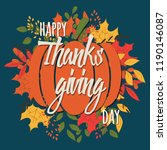 happy thanksgiving day card... | Shutterstock .eps vector #1190146087