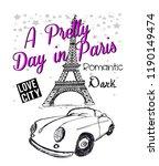 pretty paris for t shirt | Shutterstock . vector #1190149474