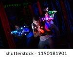 emotional guy with laser pistol ... | Shutterstock . vector #1190181901
