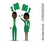 nigeria flag waving man and... | Shutterstock .eps vector #1190183224