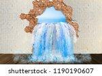 ocean water flows into the room ... | Shutterstock . vector #1190190607