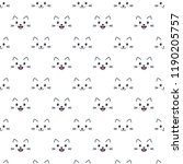 pattern with cute cat faces on... | Shutterstock .eps vector #1190205757