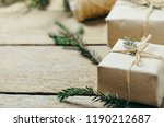 gift boxes with fir branches on ... | Shutterstock . vector #1190212687