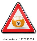 billiard ball number nine | Shutterstock . vector #1190215054
