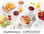healthy breakfast with oatmeal...   Shutterstock . vector #1190215327