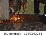 rail cutting with welding torch   Shutterstock . vector #1190243251