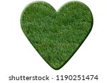 heart made of green grass... | Shutterstock . vector #1190251474