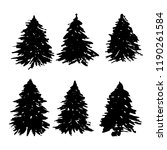 set of fir tree silhouettes.... | Shutterstock .eps vector #1190261584