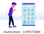young man using smartphone... | Shutterstock .eps vector #1190272684