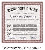 red sample certificate or... | Shutterstock .eps vector #1190298337