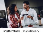 afro american couple drinking... | Shutterstock . vector #1190307877