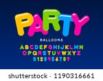 party balloons style font... | Shutterstock .eps vector #1190316661