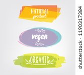 labels with vegetarian and raw... | Shutterstock .eps vector #1190317384