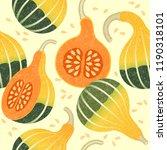 ripe pumpkins seamless pattern. ... | Shutterstock .eps vector #1190318101
