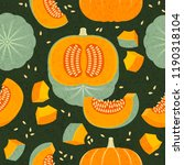 ripe pumpkins seamless pattern. ... | Shutterstock .eps vector #1190318104