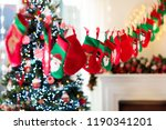 christmas presents in green and ... | Shutterstock . vector #1190341201