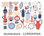 collection of trendy ceramic... | Shutterstock .eps vector #1190344564