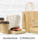 fast food and drink packaging... | Shutterstock . vector #1190361241