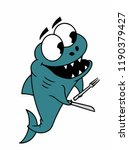 predatory fish with teeth ... | Shutterstock .eps vector #1190379427