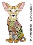 zentangle stylized cat. hand...   Shutterstock .eps vector #1190383084