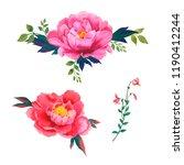 watercolor flowers set | Shutterstock . vector #1190412244