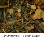 pile of miscellaneous fire wood ... | Shutterstock . vector #1190418304