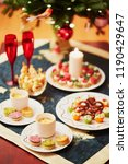 table set for christmas dinner... | Shutterstock . vector #1190429647