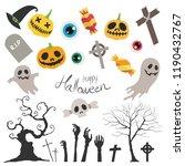 happy halloween vector set on... | Shutterstock .eps vector #1190432767