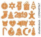 set of christmas gingerbread... | Shutterstock .eps vector #1190449567