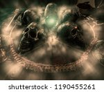 view of crystal ball and skull... | Shutterstock . vector #1190455261
