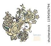paisley floral oriental ethnic... | Shutterstock .eps vector #1190456794