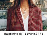 fashion blogger outfit details. ... | Shutterstock . vector #1190461471
