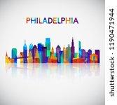 philadelphia skyline silhouette ... | Shutterstock .eps vector #1190471944