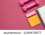 dumbbell  sticky notes  note... | Shutterstock . vector #1190474077