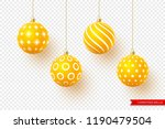 3d christmas yellow balls with... | Shutterstock .eps vector #1190479504