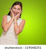 portrait of surprised woman... | Shutterstock . vector #119048251
