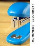 blue stapler close up shallow... | Shutterstock . vector #1190485957