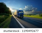 blue truck arriving on the... | Shutterstock . vector #1190492677