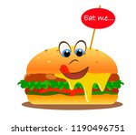smiling hamburger with eyes and ... | Shutterstock .eps vector #1190496751