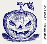 halloween pumpkin. doodle style | Shutterstock .eps vector #119051734