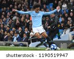 Small photo of MANCHESTER, ENGLAND - SEPTEMBER 19, 2018: Leroy Sane pictured during the UEFA Champions League game between Manchester City and Olympique Lyon.