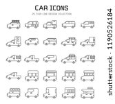 car and vehicle icon set  line... | Shutterstock .eps vector #1190526184